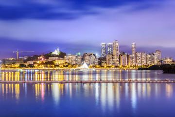 Landscape of Macau at night. Located in Macau.