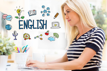 English with happy young woman sitting at her desk in front of the computer