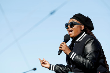 Singer Ledisi performs during the Women's March rally in Las Vegas,