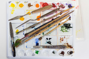 Artists Paint Brushes and Tools