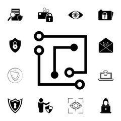 Laptop Chip Icon. Set Of Cybersecurity Icons. Signs, Outline Symbols  Collection, Simple