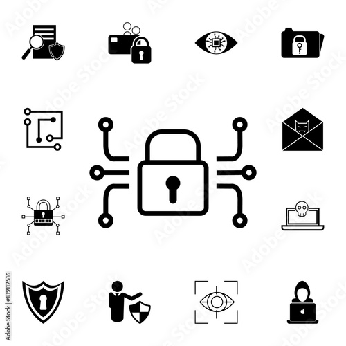electronic lock icon. Set of cybersecurity icons. Signs, outline ...