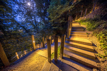Illuminated outdoor Stairway under moonlight