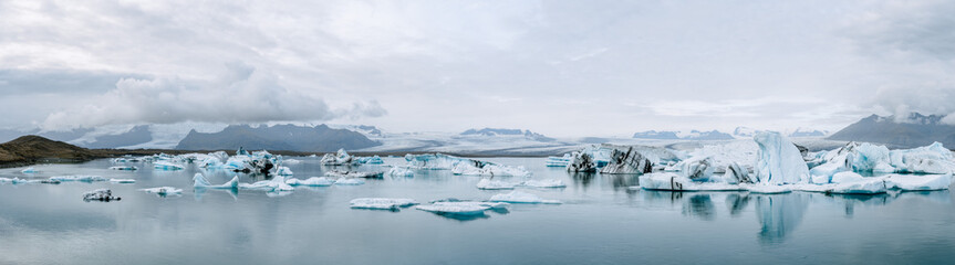 Jökulsárlón glacier lagoon in Iceland panorama during an overcast day