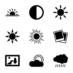 Sunset icons. set of 9 editable filled sunset icons