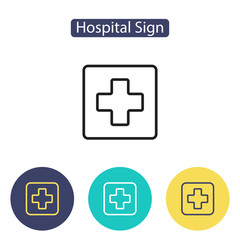 Medical cross sign. Hospital icon.