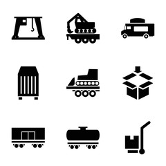 Cargo icons. set of 9 editable filled cargo icons