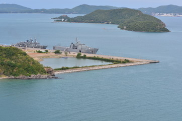 Picture a view of the Sattahip Naval Base and the sea and surrounding islands. Taken from the high corners of the peaks.