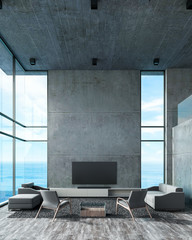 Modern interior living room double space with sofa set beach window view. concrete wall wood floor loft style for mockup lamp, tv, photo frame. sea view summer 3d rendering