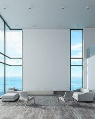 Modern interior living room double space with sofa set beach window view. white wall wood floor loft style for mockup lamp, tv, photo frame. sea view summer 3d rendering