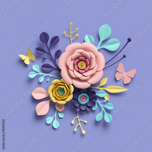 3d Rendering Growing Floral Background From Paper Flowers