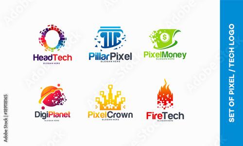 set of Pixel Tech logo designs concept, Head tech logo