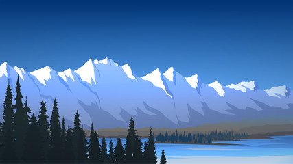 Mountain range, lake and forest