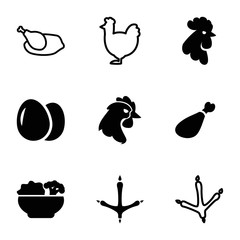 Chicken icons. set of 9 editable filled and outline chicken icons
