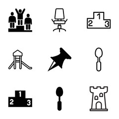 Place icons. set of 9 editable filled and outline place icons
