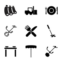 Fork icons. set of 9 editable filled and outline fork icons