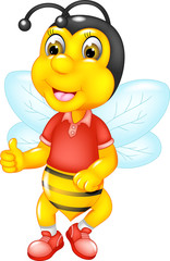 funny bee cartoon standing with smile and thumb up