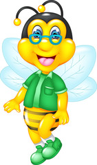 funny bee cartoon standing with laughing