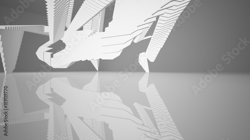 Abstract white interior with neon lighting. 3d illustration and