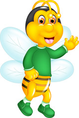 cute bee cartoon standing with smile and waving