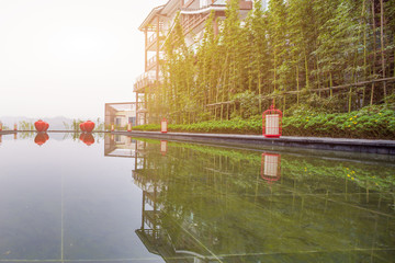 clean water and reflection of modern buidlings