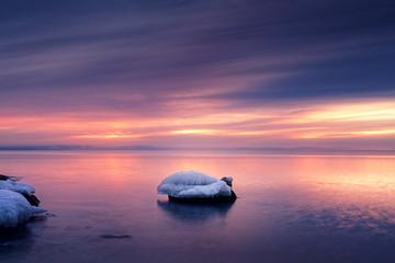 Sunrise at Lake Superior Duluth Minnesota Icy Winter