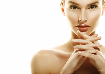 Adult woman portrait, skin care concept, beautiful skin and hand