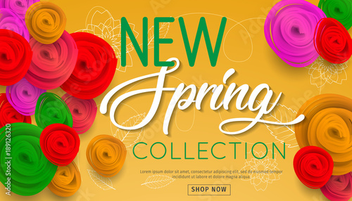 spring sale banner new collection with paper flowers for online shopping advertising actions