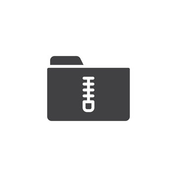 zip folder icon vector, filled flat sign, solid pictogram isolated on white. Symbol, logo illustration.
