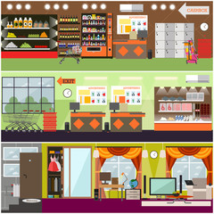 Grocery store, supermarket, home interior vector flat poster set