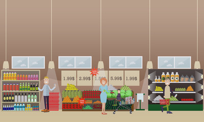 People making purchases vector flat illustration