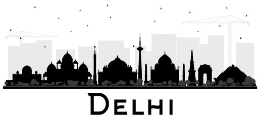 Delhi India City Skyline Black and White Silhouette.