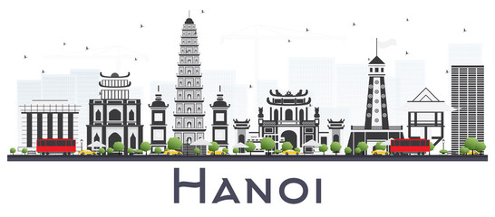 Hanoi Vietnam City Skyline with Gray Buildings Isolated on White Background.
