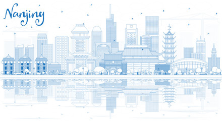 Outline Nanjing China City Skyline with Blue Buildings and Reflections.