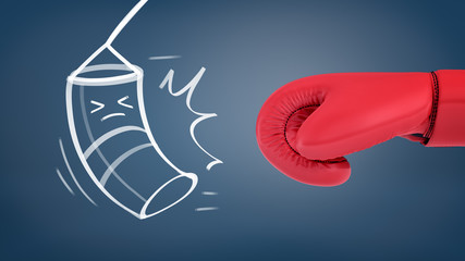 3d rendering of a giant red boxing glove near a chalk drawing of a heavy bag with squeezed eyes avoiding being hit.