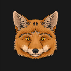 Head of red fox, face of wild animal hand drawn vector Illustration
