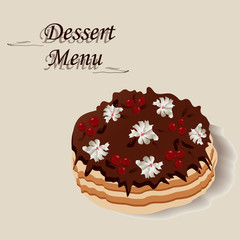 sweet cake with cream and cherry. colored vector illustration for your happy holiday.