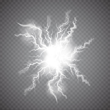 Realistic Ball lightning, plasma sphere, electric discharge set vector abstract illustration