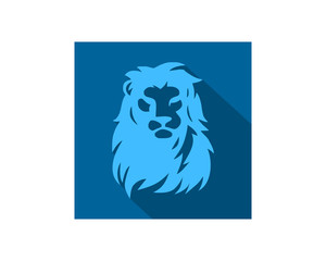 blue lion leo head face image vector icon logo silhouette