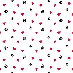 Seamless background with hearts and dog footprint . Wallpaper, graphic design, vector illustration.