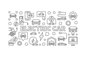 Electric car minimal illustration or EV concept line banner