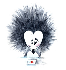 Hedgehog with long pins send get st. Valentine card watercolor hand drawing illustration on white background