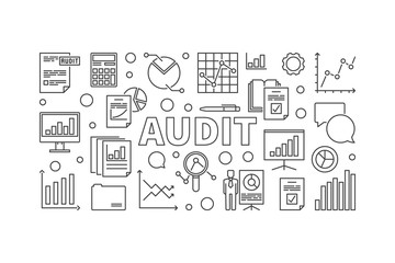 Audit horizontal vector banner or illustration