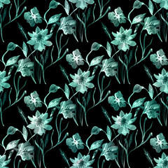 Seamless floral pattern. Delicate turquoise flowers , leaves, twigs on a black background.