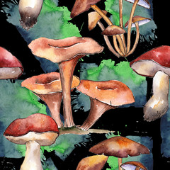 Mushrooms healthy food pattern in a watercolor style. Full name of the vegetable: mushrooms. Aquarelle wild vegetable for background, texture, wrapper pattern or menu.