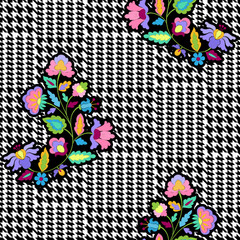 Check Fashion Seamless Pattern with Embroidery Flowers