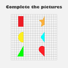 Complete the picture, geometric shapes, drawing skills training, educational paper game for the development of children,  kids preschool activity, printable worksheet, vector illustration