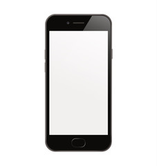 New High Detailed Realistic Smartphone similar to iphone Isolated on white Background. Display Front View. Device Mockup Separate Groups and Layers. Easily Editable Vector. EPS 10.