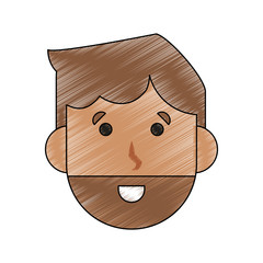 Young man face cartoon icon vector illustration graphic design