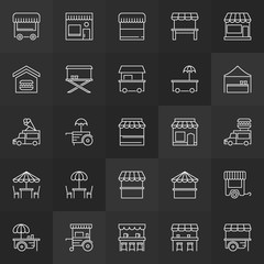 Street food minimal icons - vector concept signs
